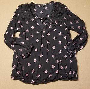 Express black and pink pattern wrap shirt